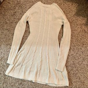 Cream knitted sweater dress
